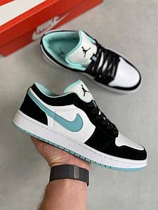 Мужские кроссовки Air Jordan 1 Low Black/Mint