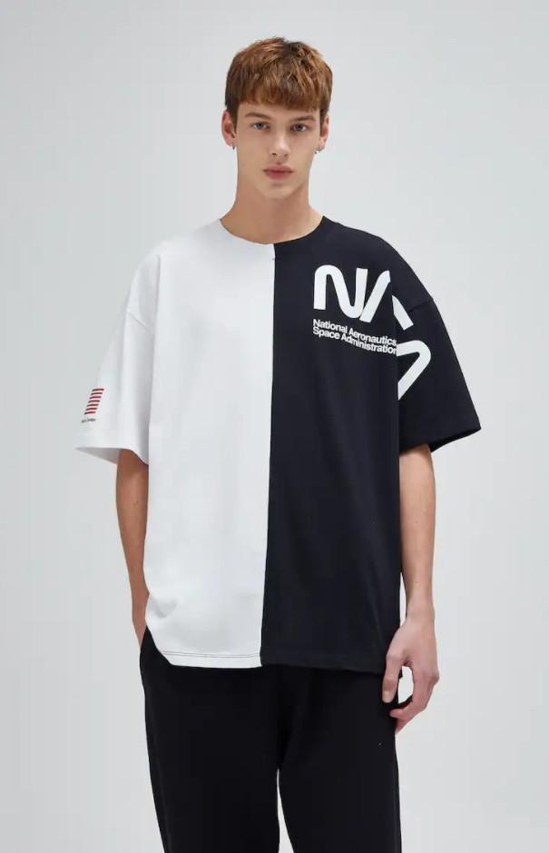 Чоловіча футболка oversize чорно-біла з написом