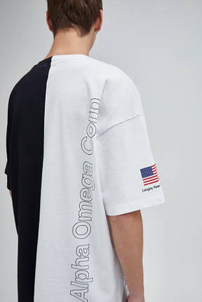 Чоловіча футболка oversize чорно-біла з написом, фото 2
