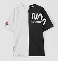 Чоловіча футболка oversize чорно-біла з написом, фото 3
