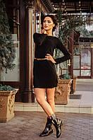 Платье ангоровое черное С латками на локтях