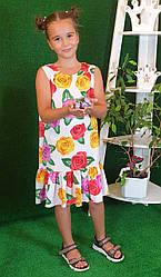 Летнее платье для девочки  цветочный принт  на рост 134,140,146,152 на  белом