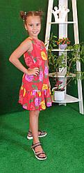 Летнее платье для девочки  цветочный принт  на рост 134,140,146,152 на красном