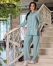 Стильний жіночий брючний костюм з рубакою на гудзиках р. 42-52.