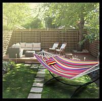 Гамак подвесной тканевый с планкой, гамак садовый для отдыха 100см