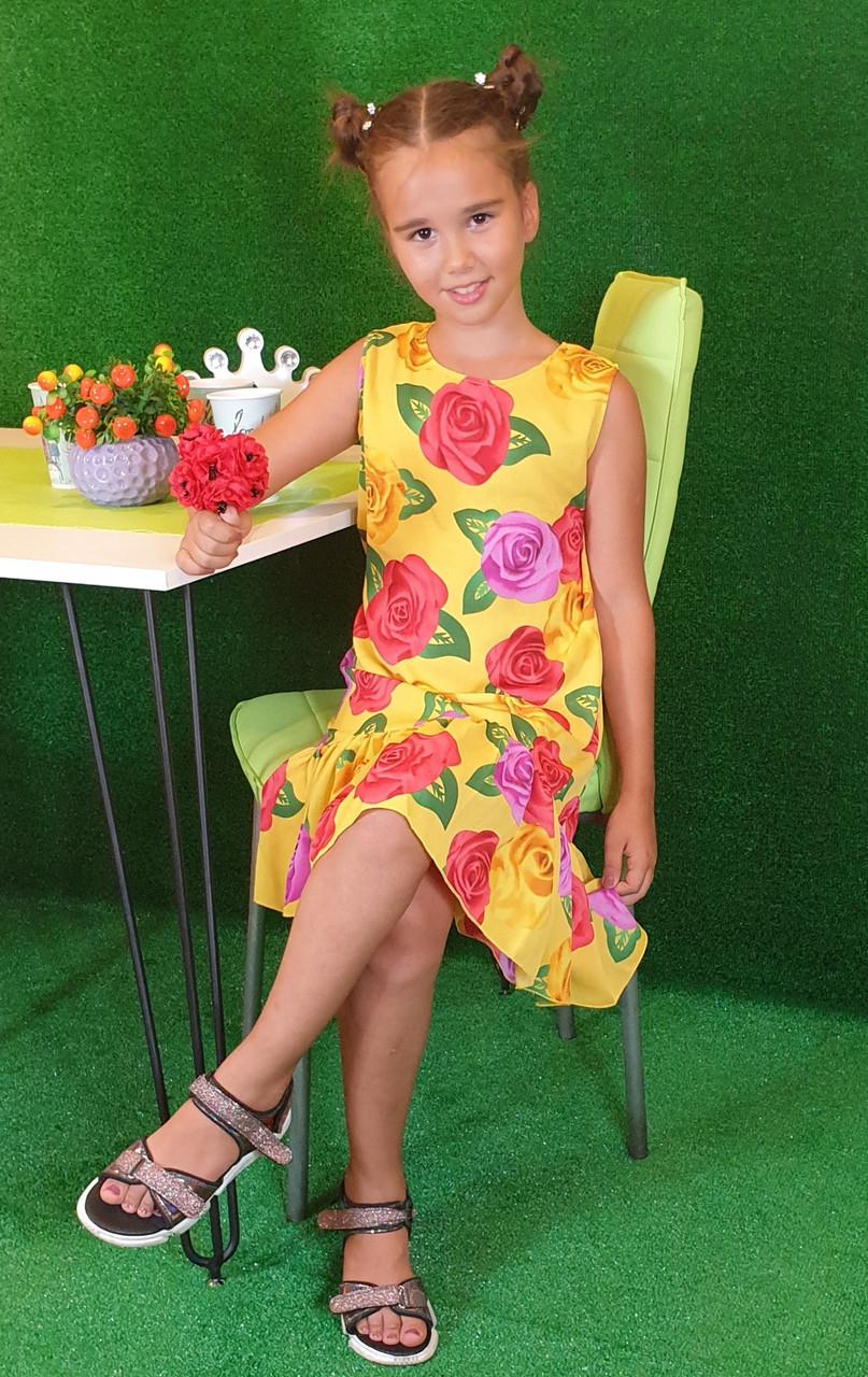 Летнее платье для девочки  цветочный принт  на рост 134,140,146,152 желтый