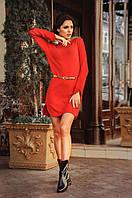Платье ангоровое Красное с латками на локтях