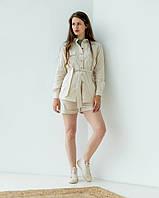 """Модный женский костюм """" 356"""", бежевый. размеры 44,46,48,50."""