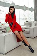 Платье ангоровое Красное с кожаным карманом