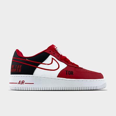Мужские кроссовки Nike Air Force NBA Toronto Raptors Красный Белый Низкие кеды Повседневные Найк Аир Форс 1