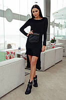 Платье ангоровое Черное с кожаным карманом