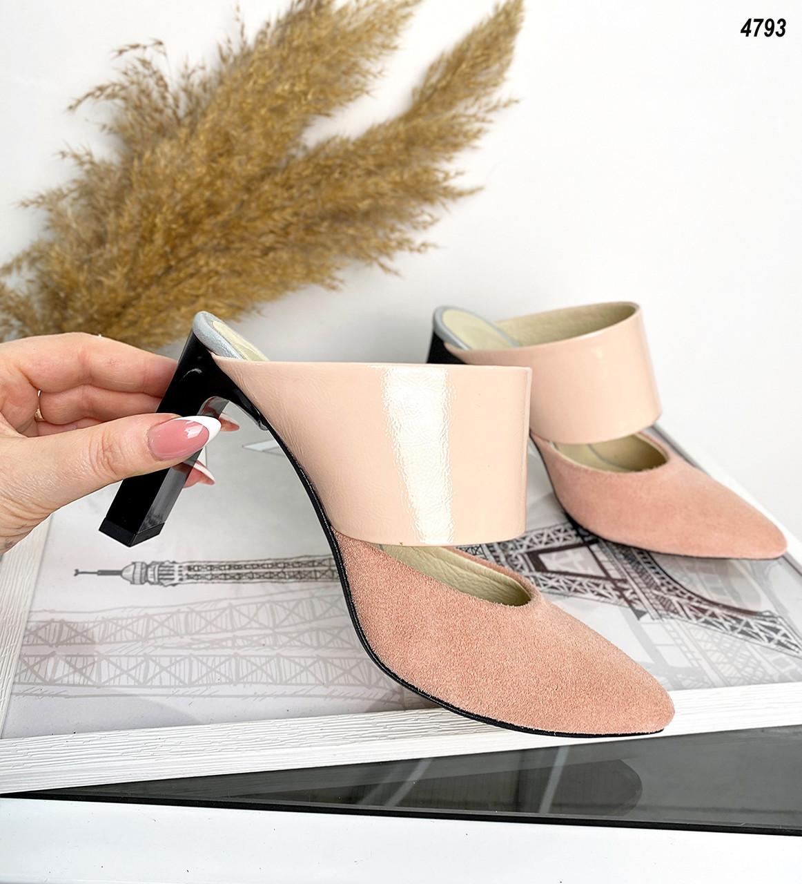 Женские мюли на каблуке кожа+замша 36-40 р пудра