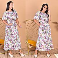 Жіноче літнє довге плаття з поясом, фото 1