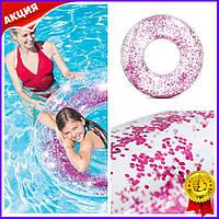 Надувной круг для плавания Intex Прозрачный блеск 2 вида плотик матрас для купания в море бассейне игр в воде