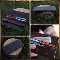 Кожаный кошелек коричневый(с отделением для монет)