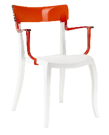 Кресло Papatya Hera-K белое сиденье, верх прозрачно-красный