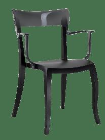 Кресло Papatya Hera-K черное сиденье, верх прозрачно-дымчатый