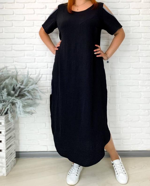 Летнее батальное платье свободного кроя с открытыми рукавами