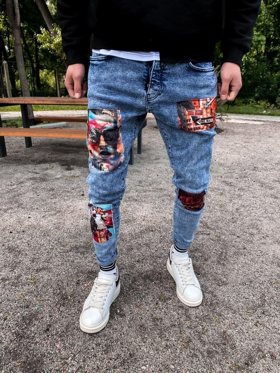 Джинси - сині джинси Чоловічі / чоловічі джинси сині рвані з нашивками