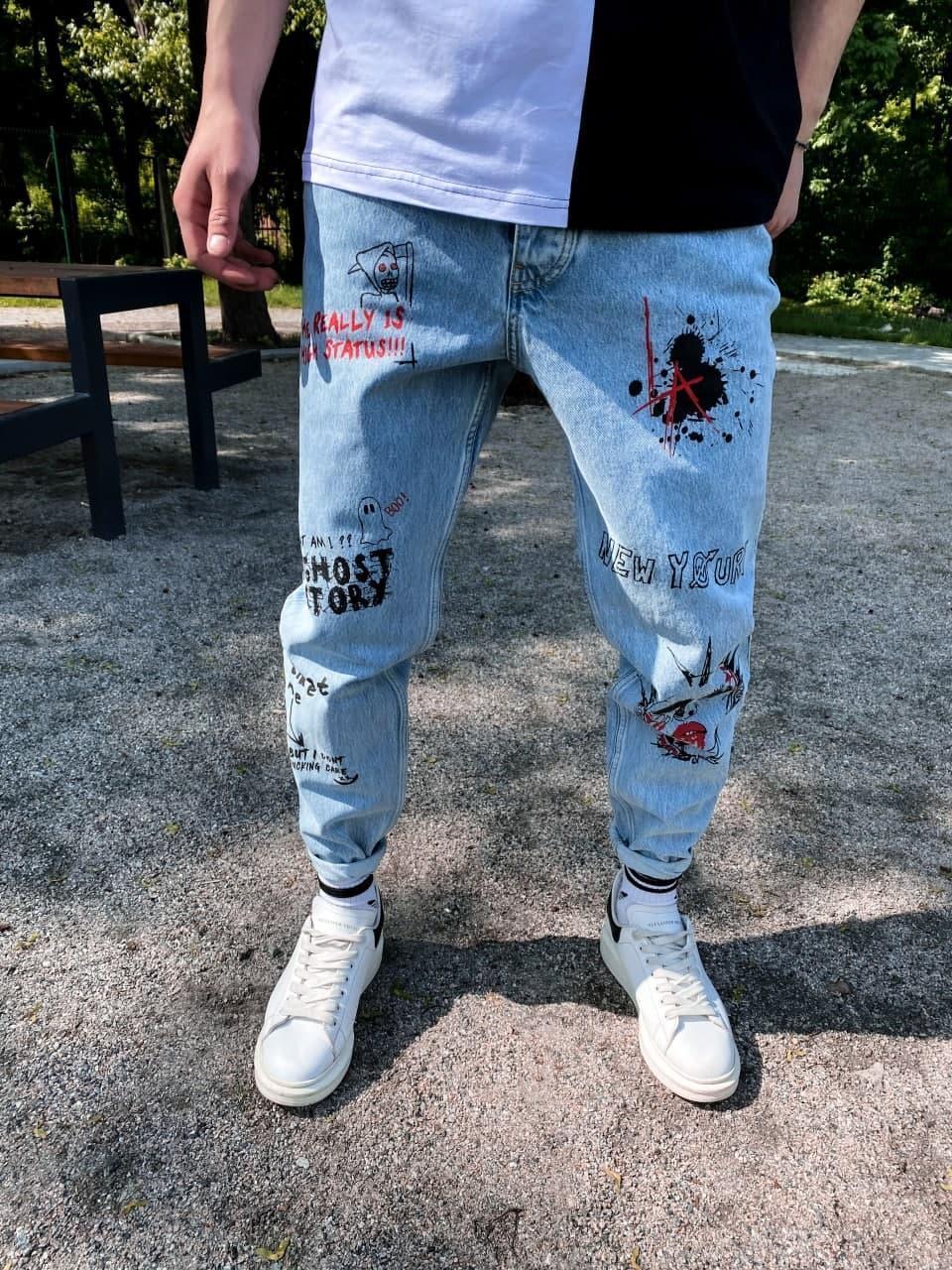 Джинсы - Мужские голубые джинсы / чоловічі джинси голубі з нашивками