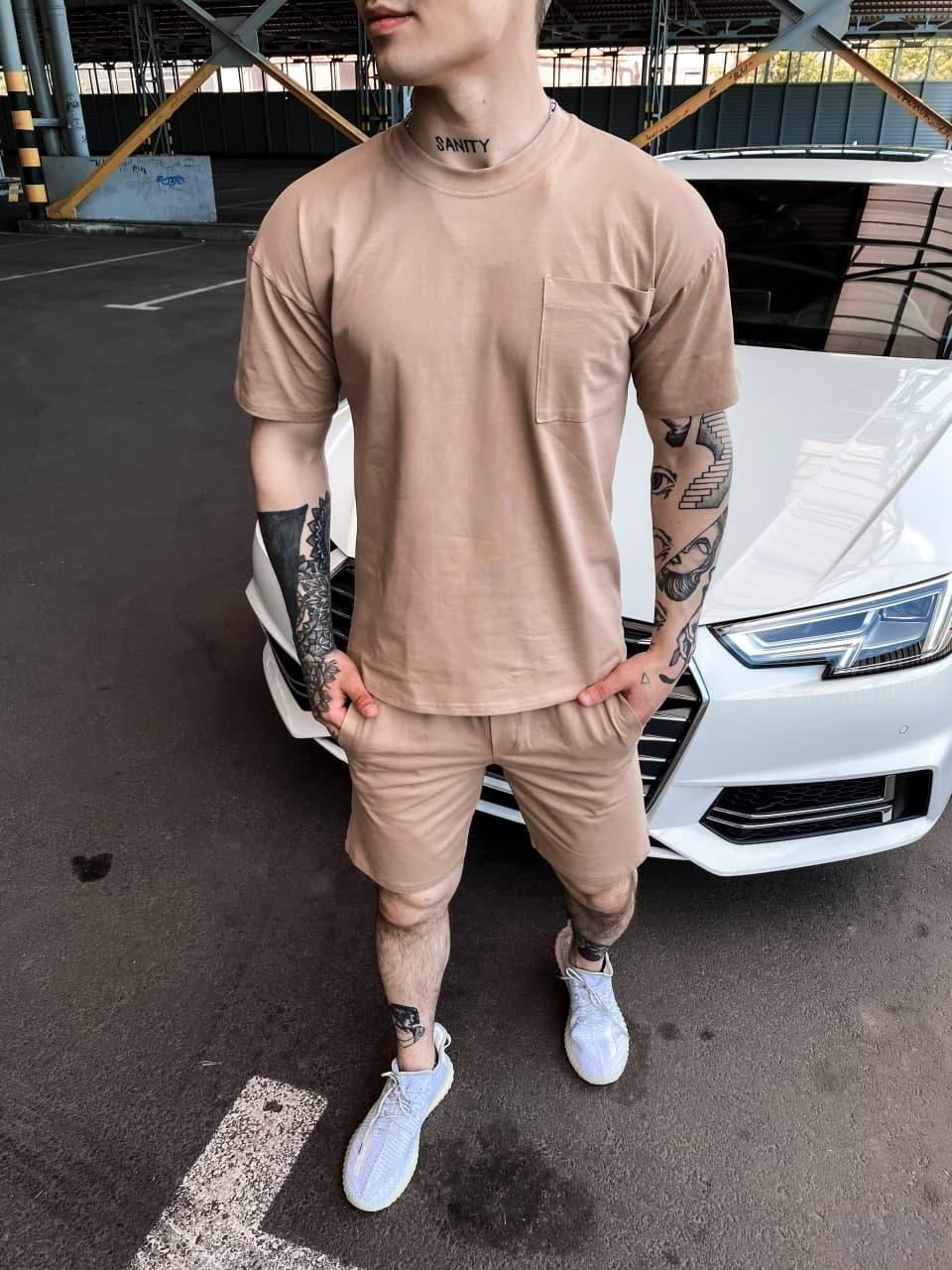 Спортивный костюм - Мужской спортивный комплект / чоловічий комплект шорти+футболки бежевий