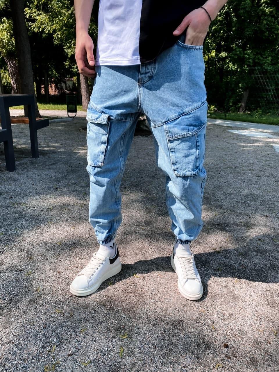 Джинси - блакитні джинси Чоловічі / чоловічі джинси голубі з кишенями