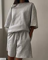 Женский спортивный прогулочный костюм на лето шорты и футболка красивый стильный модный 42-44, 44-46