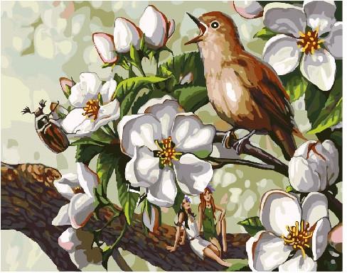 Пение птицы в цветах