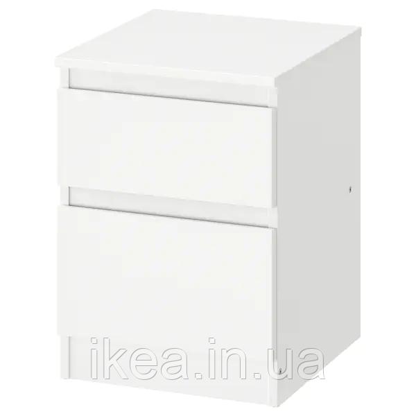 Комод з 2 шухлядами 35x49 см IKEA KULLEN біла тумбочка у вітальню або спальню (нічна) ІКЕА КУЛЛЕН