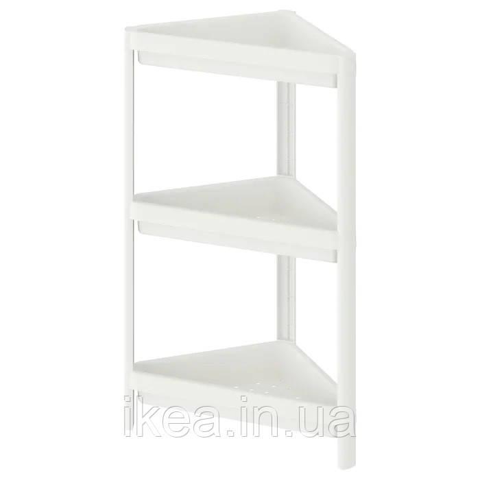 Угловой стеллаж для ванной IKEA VESKEN 33x33x71 см пластиковая белая напольная полка ИКЕА ВЕСКЕН