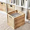 Плетений коробка для зберігання речей ротанг IKEA BRANÄS 32x34x32 см ящик органайзер коричневий ІКЕА БРАНЕС, фото 3