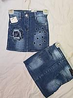 """Спідниця джинсова підліткова модна зі стразами на дівчинку 8-12 років""""SMILE""""купити недорого від прямого постачальника"""