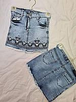 """Спідниця джинсова підліткова з вишивкою на дівчинку 8-12 років """"SMILE"""" купити недорого від прямого постачальника"""