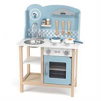 Детская кухня из дерева с посудой Viga Toys PolarB голубая (44047)