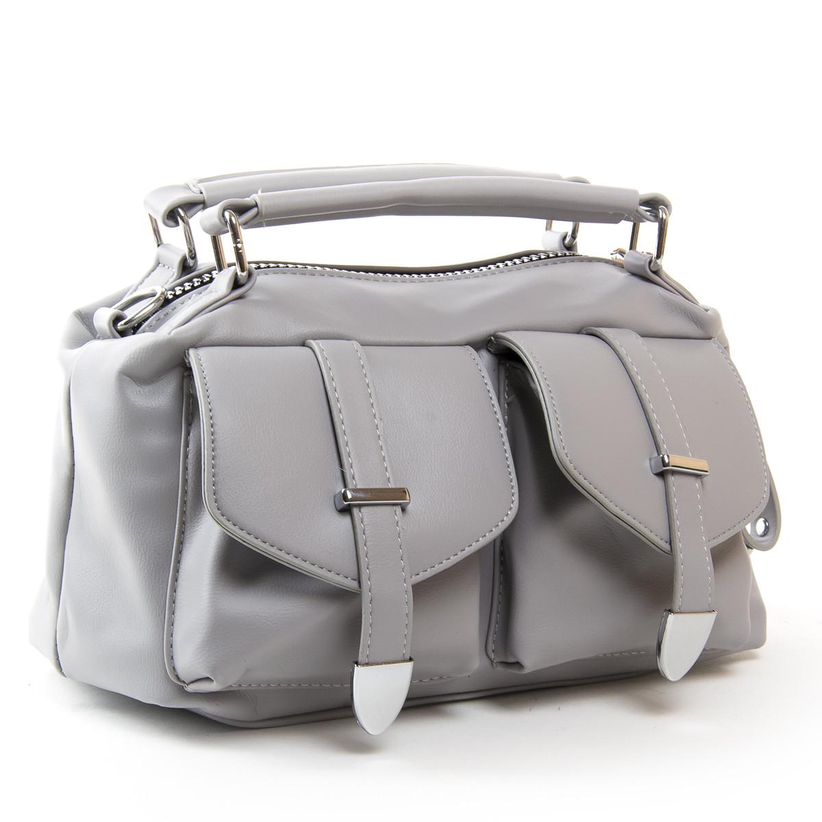 Вместительная женская сумка из искусственной кожи 30*19*13см цвет серый FASHION (01-03 5709 grey)