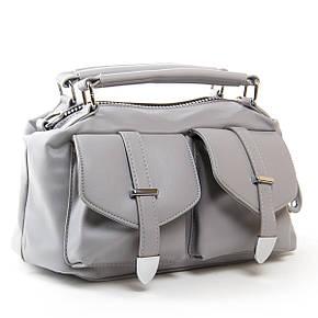 Вместительная женская сумка из искусственной кожи 30*19*13см цвет серый FASHION (01-03 5709 grey), фото 2
