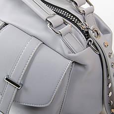 Вместительная женская сумка из искусственной кожи 30*19*13см цвет серый FASHION (01-03 5709 grey), фото 3