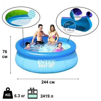 Детский надувной бассейн Intex 28110 NP Easy Set 244х76 см детский бассейн intex интекс бассейн для дачи