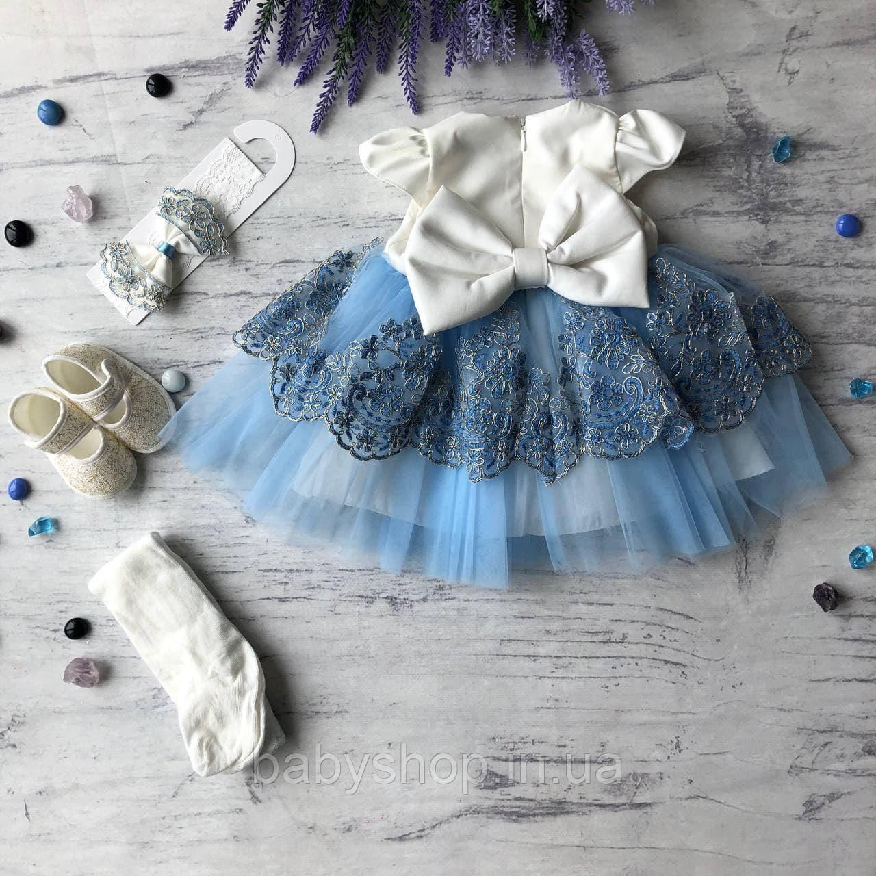 Святковий набір, плаття на дівчинку, хрестильне плаття на дівчинку 29. Розміри 62 см, 68 см