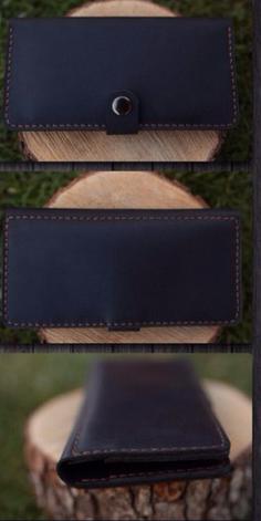 Кожаный кошелек черный, фото 2