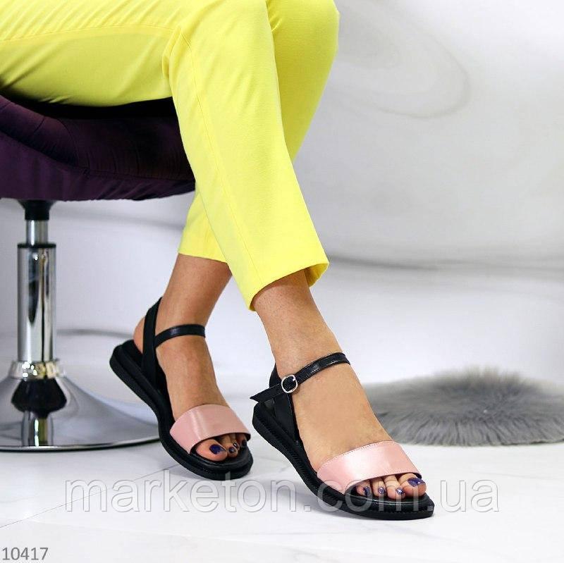 """Жіночі шкіряні босоніжки на низькому ходу Чорні з пудрою """"Forta"""""""