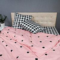 Комплект постельного белья KrisPol «Черные сердечки» 150x220 Сатин