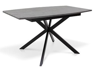 Стол раскладной Даллас МДФ 140/180*85 серый мрамор/черный TM Melbi