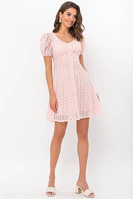 Персиковое летнее короткое платье
