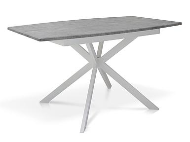 Стол раскладной Даллас МДФ 140/180*85 серый мрамор/белый TM Melbi