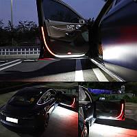 Подсветка дверей динамическая, LED подсветка дверей автомобиля ( 2 ленты по 1,2м) Красно-Белая
