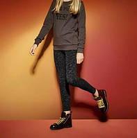 Демисезонные термо леггинсы на девочку, рост 146/152, цвет черный в штрих, фото 1