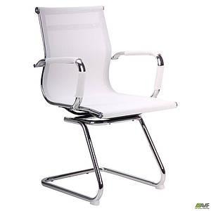 Конференц-кресло офисное AMF Slim Net CF белое на полозьях хром