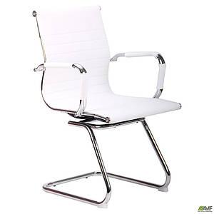 Офисное кресло AMF Slim CF XH-632C белый кожзам на полозьях хром для переговорных