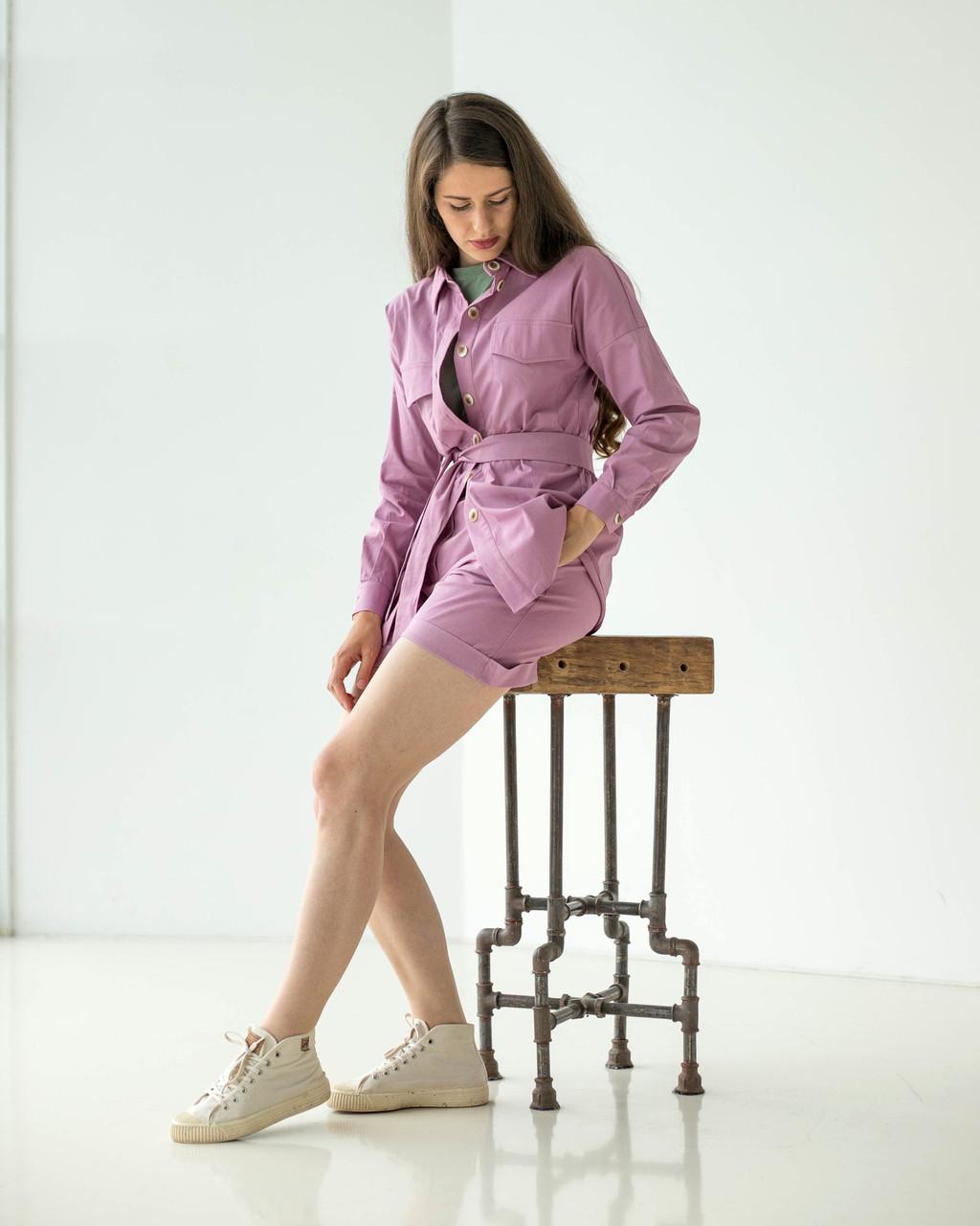 Рожевий жіночий костюм з сорочкою і шортами, натуральний льон